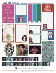 Free Printable Sugar Skull Princesses Planner Stickers | Victoria Thatcher