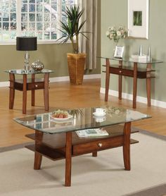 Acme 16230 Karlyn Coffee Table, Cherry Finish by ACME. $263.91. Available in cherry finish. Karlyn coffee table. This is perfect for living room. Made in china. Measures 50-inch length by 30-inch width by 20-inch height. This simple yet functional coffee table with glass top and drawer with open side compartments and working drawers provides plenty of space for storage. It has beveled glass top supported by two panel layers and useful drawer as well as shaped legs. ...
