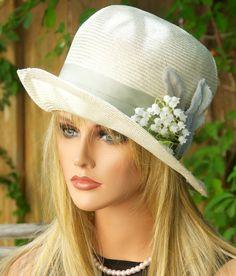 Kentucky Derby Hat, Wedding Hat, Straw Cloche. 1920s 1930s Vintage Style, Garden Party Hat, Tea Party Hat, Downton Abbey Hat, Sage Green hat