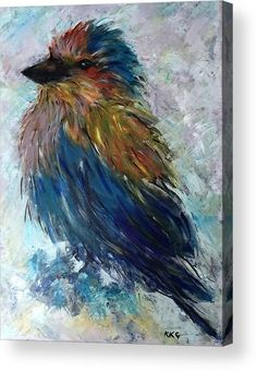 Lilac Breasted Roller bird: An acrylic painting of a lilac breasted roller bird…