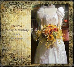 Yellow Amber Pansies and Vintage Lace Bouquet 3 by whiteriver51, $345.00