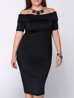 Stylish Plus Size Off The ShoulderMidi Dress For Women