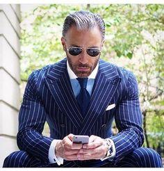 Suit-Men's-Clothing-Men's Suits Striped Double Breast Plus Size Suit Blue-Suit-Mens-We. Source by douardf mens Sharp Dressed Man, Well Dressed Men, Plus Size Suits, Moda Formal, Pinstripe Suit, Mens Fashion Suits, Mens Suits Uk, Mens Suits Style, Womens Fashion