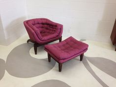 mid century modern barrell chair with ottoman by dsartereno, $399.00