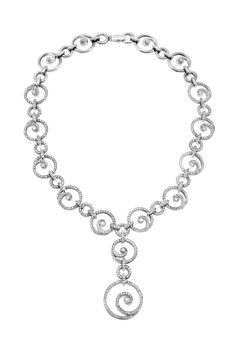 Happiness goes round and round! Haute Vault's 18K white gold diamond circular infinity necklace with detachable drop. Walk down the aisle or enter the  black tie gala and leave your guests speechless.