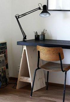 Studio// home office - vintage industrial diy desk, house design, office wo Home Office Inspiration, Furniture Inspiration, Interior Inspiration, Workspace Inspiration, Living Spaces Furniture, Diy Furniture, Furniture Design, Space Furniture, Furniture Plans