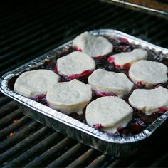 Blueberry Cobbler Baking on the Grill