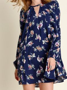 Navy Floral Print Keyhole Swing Tunic Dress NWT