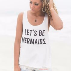 Let's Be Mermaids Ivory Graphic Tank