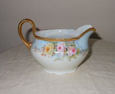 Hand Painted Creamer Roses Made In Germany