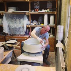Colin Hopkins on his potters wheel making a large porcelain light fitting by hand. Ceramic Light, Light Fittings, Lightning, Porcelain, Clay, Concept, Decorations, Ceramics, Interior Design