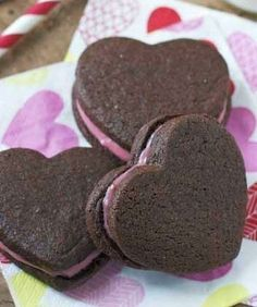 Chocolate Heart Sandwich Cookies with Raspberry Cream Cheese Filling. So sweet for your Valentine .