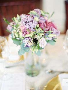 Lavender and violet hued florals: http://www.stylemepretty.com/canada-weddings/british-columbia/kelowna/2015/09/16/intimate-romantic-british-columbia-wedding/ | Photography: Jenna Hill - http://www.jennahillphoto.com/