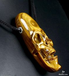 Amazing Flash Gemstone Gold Tiger Eye Carved Crystal Skull Pendant with Sterling Silver