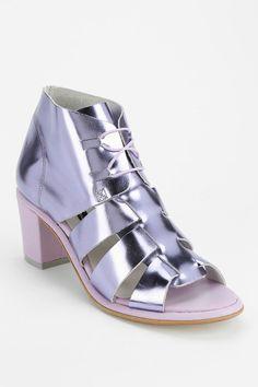 Miista Tammie Metallic Peep-Toe Ankle Boot