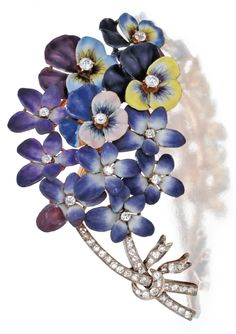 brooch designed as a bouquet of pansies and purple flowers, set with old mine, single-cut, and old European-cut diamonds weighing approximately carats, variously applied with enamel. Old Jewelry, Enamel Jewelry, Antique Jewelry, Jewelery, Vintage Jewelry, Diamond Flower, Diamond Cuts, Diamond Dealers, European Cut Diamonds