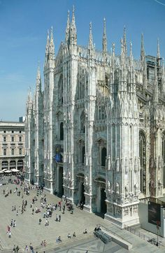 Milan Cathedral (Italian: Duomo di Milano; Lombard: Domm de Milan) is the cathedral church of Milan, Italy. Dedicated to Santa Maria Nascente (Saint Mary Nascent), it is the seat of the Archbishop of Milan, currently Cardinal Angelo Scola. The Gothic cathedral took nearly six centuries to complete. It is the fifth largest cathedral in the world and the largest in the Italian state territory