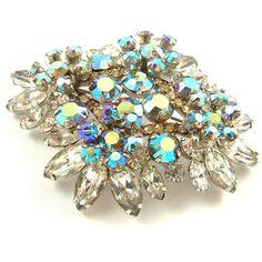 Rhinestone Brooch Vintage Glamour Jewelry Juliana Aurora Borealis... ($95) ❤ liked on Polyvore