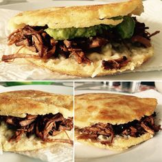 Pulled pork stuffed Colombian arepas Colombian Arepas, Good Food, Yummy Food, Pulled Pork, Cheesesteak, Ethnic Recipes, Shredded Pork, Delicious Food, Healthy Food