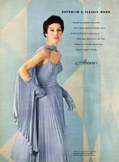 Blue Evening Gown Fashion Ad 1953 Designer Hannah Troy Avisco