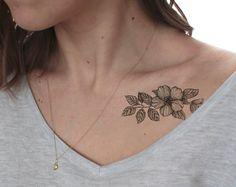 Flores de cerezo tattoo / falso tatuaje / temporal tatuaje / vintage tatuaje negro blanco del tatuaje / tatuaje / chicas hipster florecen regalo tatuaje