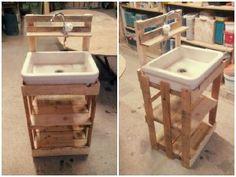 Wooden Pallet Outdoor Sink