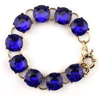 SAPPHIRE BLUE CRYSTAL RHINESTONE Round Dot Gold Chain Link Statement Bracelet