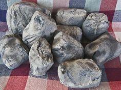 Fake rocks- stuffed paper lunch bags and paint More