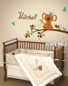 Koala, huggable and lovable. There are 2 versions, for girl or boy. Koala on branch Size (approx): x Name Size (appro. Nursery Wall Stickers, Kids Wall Decals, Nursery Wall Decals, Baby Nursery Decor, Nursery Themes, Baby Decor, Themed Nursery, Boys Bedding Sets, Boy Bedding