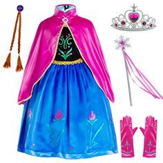 Princess Costumes Birthday Party Dress Up for Little Girls/Long Sleeve with Cape Age of Years Princess Costumes For Girls, Princess Anna Costume, Princess Fancy Dress, Disney Princess Dresses, Fancy Dress Up, Halloween Costumes For Girls, Girl Costumes, Costume Birthday Parties, Birthday Dresses