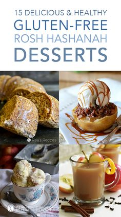 Celebrating the Jewish New Year? Here are 15 delicious and healthy gluten-free Rosh Hashanah desserts for you! Paleo and vegan options included. #roshhashanah #glutenfree #desserts #apple #fig #pomegranate #newyear #jewishnewyear #recipes