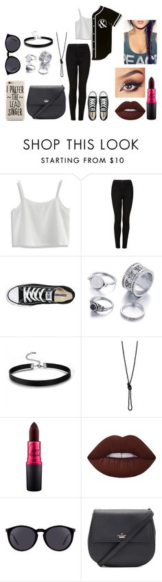 """Austin Carlile"" by dearxadriana on Polyvore featuring Chicwish, Topshop, Converse, Lime Crime, Yves Saint Laurent, Kate Spade, austincarlile and ofmice"