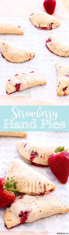 These easy strawberry hand pies have a cream cheese crust and are filled with homemade strawberry pie filling! This strawberry hand pie recipe is perfect for spring or summer dessert!