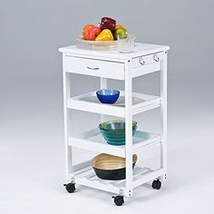 SoBuy Wooden Kitchen Trolley with Shelves & Drawers,Hostess Trolley,Kitchen Storage Rack
