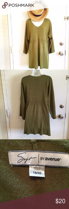 Plus Size Olive Green Tunic Sweater Plus size 18/20 Soft by Avenue tunic length sweater. Does have some piling. Perfect over a pair of leggings. #soft #avenue #plus #plussize #tunic #sweater #green #olive #sweater #fall #autumn #punkydoodle   No modeling Smoke and pet free home I do discount bundles Avenue Sweaters