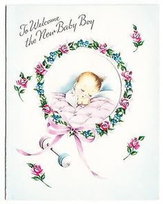 Sweater vintage baby showers birth anouncements gift wrap vintage unused new baby boy greeting card m4hsunfo