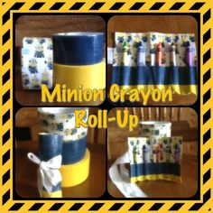 Duct tape Minion Crayon Roll-Up. Super easy to make and any kid would be happy to have one. Good party favor. So many possibilities with duct tape LoL