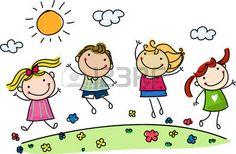 bambini stilizzati: saltando bambini felici