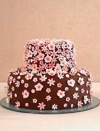 tarta flor de cerezo cherry blossom flower cake chocolate fondant rosa pink decoración boda bautizo comunión wedding  baptism communion decoration miraquechulo
