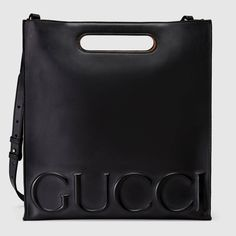 GUCCI Gucci Xl Leather Tote - Black Leather. #gucci #bags #shoulder bags #hand bags #suede #tote #lining #