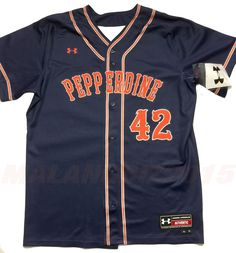 Under Armour Pepperdine Waves University NCAA TEAM Baseball Jersey Size 44 Large #UnderArmour #PepperdineWaves
