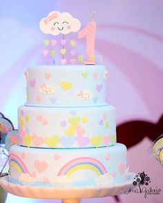 Rainbow Parties, Rainbow Birthday Party, Baby 1st Birthday, Birthday Cake, Birthday Parties, Cloud Party, Love Cake, Cute Cakes, Baby Shower Cakes