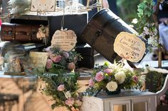 Vintage luggage- Paris - and Nadine and Lorenzo's Enchanted Parisian Wedding Parisian Wedding, Vintage Luggage, Event Styling, Enchanted, Affair, Delicate, Table Decorations, Bride, Crafts