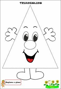 Triangolino - My Pin Shapes Worksheets, Preschool Worksheets, Preschool Classroom, Kindergarten Math, Preschool Activities, Shapes For Kids, Math For Kids, Mathematics Geometry, Math Work