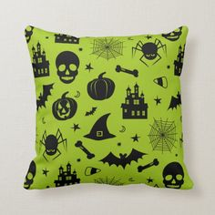Halloween Pattern Green and Black Throw Pillow Black Throw Pillows, Decorative Throw Pillows, Halloween Pillows, Halloween Patterns, White Elephant Gifts, Halloween Decorations, Art Pieces, Green