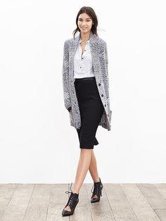 Heritage Textured Long Sweater Cardigan | Banana Republic