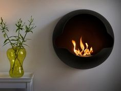 The Cupola is a beautiful and elegant wall mounted fireplace that produces vent-less and hassle free flames with its adjustable bi-ethanol burner. This sculptural fireplace also comes with a burner that has absorbing function for an unprecedented safety. Wall Mounted Fireplace, Custom Fireplace, Home Fireplace, Fireplace Design, Modern Fireplace, Fireplace Candles, Fireplace Outdoor, Shiplap Fireplace, Limestone Fireplace