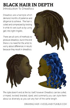 "misselaney: "" How to draw Dreadlocs! See Part One: Rendering Natural Black Hair Coming Up Next: VOTE by sending to my Ask box! (Until March Feel free to suggest any style or subject matter within drawing natural hair! Drawing Techniques, Drawing Tips, Drawing Reference, Drawing Stuff, Sketching Tips, Drawing Ideas, Wall Drawing, Dream Drawing, Basic Drawing"