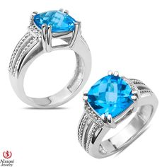 Ebay NissoniJewelry presents - .04CT Diamond Fashion Ring with Blue Topaz in Sterling Silver 925  0.045CT    Model Number:FR8279A-SI77BT    http://www.ebay.com/itm/.04CT-Diamond-Fashion-Ring-with-Blue-Topaz-in-Sterling-Silver-925-0.045CT/321857632959