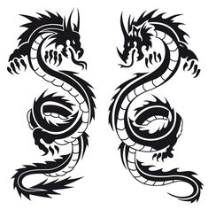 Eagle and dragon tattoos on arm. One typical sort of dragon. Old school dragon designs look so classy. Dragon Tattoo Vector, Black Dragon Tattoo, Tribal Dragon Tattoos, Chinese Dragon Tattoos, Dragon Tattoo Designs, Dragon Tattoo Neck, Silhouette Tattoos, Dragons Tattoo, Tattoo Templates